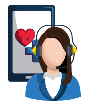 Vector graphic of a woman with a headset on infront of a mobile phone with a heart and medical care image