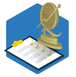 A vector icon of a clipboard with boxes checked off and a trophy sitting on a blue hexagon