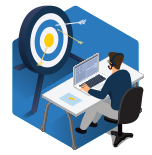 a vector graphic of a man with a headset sitting at a desk with a target in front of him.