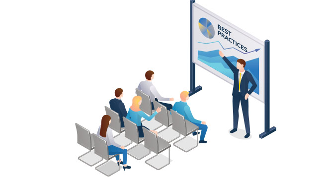 A vector graphic of a man giving a presentation infront of an audience.