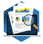 Icon with blue and yellow graph data with a magnifying glass over a laptop on a blue hexagon