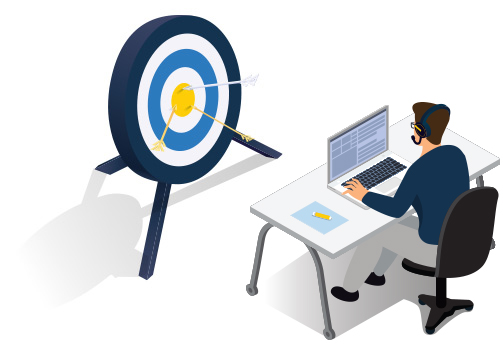 Vector graphic of a man at a desk with a headset on. Infront of him is a target with arrows in the bullseye