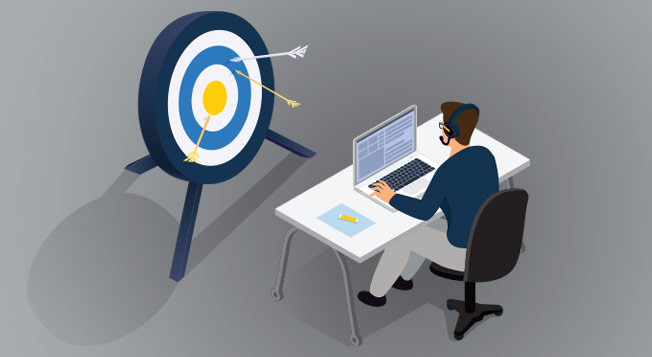 Vector graphic of a man at a desk with a target infront of him.