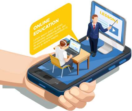 a isometric graphic of a hand holding a phone with a student and teacher learing in an online environment.