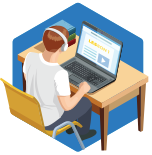 an Icon of a person with headphones at a desk learning on a blue hexagon