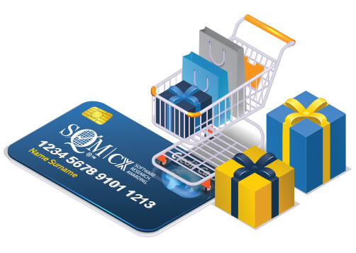 A shopping card with gift bags and presents on top of an SQM credit card