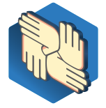 an Icon with four hand icons overlapped.