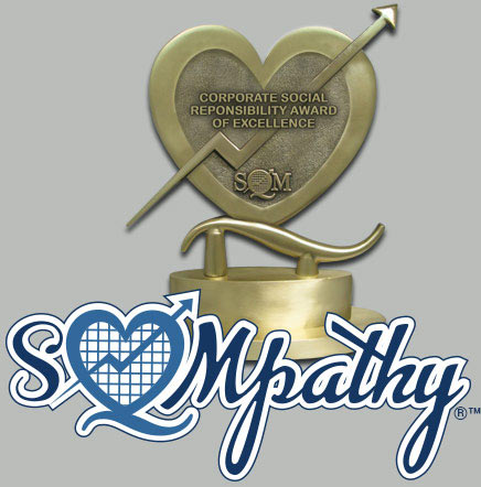 a heart shaped trophy with the words sqmpathy corporate social responsibility benchmarking study