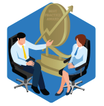 Man and woman sit infront of a trophy on a blue hexagon