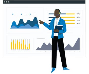 A service agent pointing to a success graph