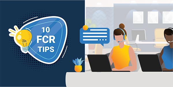 10 FCR Tips  with call center people and a light bulb