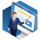 an Icon with an instructor pointing to lessons on a computer screen on a blue hexagon