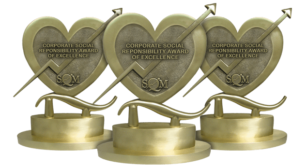 a heart shaped trophy made of brass
